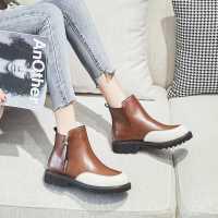 达芙妮真皮切尔西短靴女2020年新款秋冬季百搭平底马丁靴女英伦风