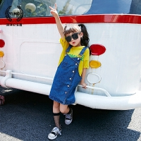女童连衣裙2018夏装新款童装韩版儿童吊带裙单排扣牛仔背带裙潮