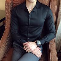 款翻领衬衣简约百搭纯色长袖衬衫洋气款免烫皱款修身工装