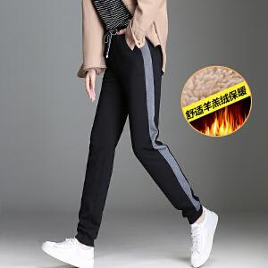 加绒运动裤女冬韩版新款女装小脚休闲长裤潮流羊羔绒束脚运动裤女