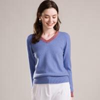 秋冬新款羊绒衫女套头羊绒V领修身针织打底毛衣