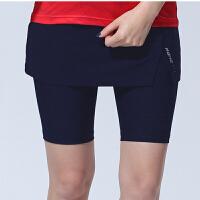 韩国yy羽毛球服女款网球裙子速干透气比赛训练运动裙裤假两件夏季 6012女款深蓝裙裤