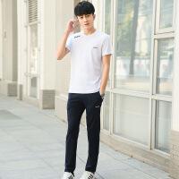 2018新款男士T恤套装短袖 男式修身男式纯棉薄款运动长裤一套男装