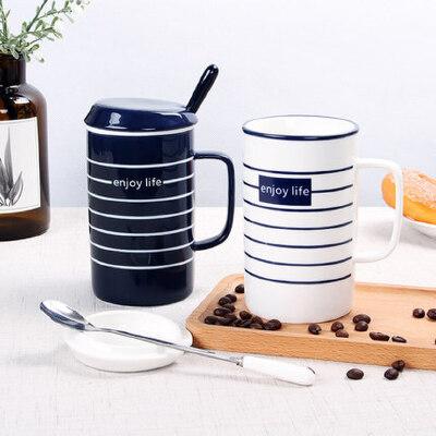 情侣杯子一对北欧创意办公室陶瓷咖啡杯带盖勺马克杯家用ins水杯 个性条纹 情侣马克杯
