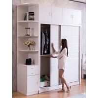 衣柜推拉门简约现代经济型卧室整体组装木质2门移门大衣橱柜子 2门 组装