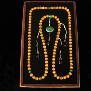 珍藏清代宫廷御用老珍贵绿黄眼朝珠一条 配老漆器盒一个