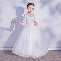 女童公主裙蓬蓬纱夏儿童晚礼服白色花童婚纱钢琴演奏服