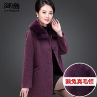 中老年女装冬装毛呢大衣妈妈款呢子外套40-50岁气质保暖上衣