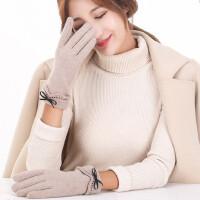 韩版毛线针织可爱女学生可触屏开车羊绒手套加厚保暖加绒羊毛