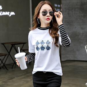 春秋新款上衣打底衫假两件条纹女装韩版修身体恤显瘦长袖t恤
