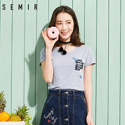 森马短袖T恤 2017夏装新款 女士套头圆领上衣标语印花女生打底衫