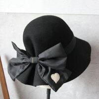 复古百搭羊毛小盆帽女 韩版女士渔夫帽子 黑色时尚毛呢礼帽遮阳帽女