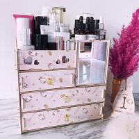 物有物语 整理置物架 大号木质桌面化妆品收纳盒带镜子抽屉式木制收纳箱