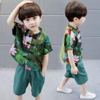 儿童唐装男童套装夏季宝宝中国风复古棉麻汉服潮薄款1-2-3岁婴儿 墨绿色
