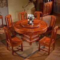 餐桌椅组合新中式家具饭桌圆桌现代简约木仿古典圆形餐台