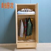 实木单门组装衣柜松木两门卧室衣柜单人储物柜带抽屉经济型 2门 组装