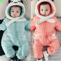 婴儿连体棉衣冬季加厚加绒新生儿外出棉袄爬服0-2岁宝宝风衣哈衣
