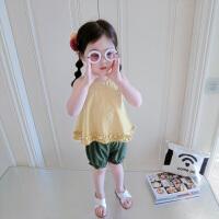 女童背心套装夏季2018新款韩版宽松宝宝1234岁棉质洋气婴儿两件套 黄色