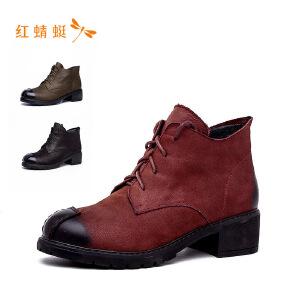 红蜻蜓女鞋时尚英伦风中跟系带女单鞋