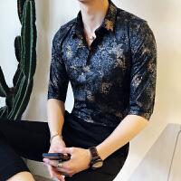 夏季韩版男士衬衫短袖潮流发型师夜店修身英伦中袖五分袖
