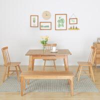 Yona家具 北欧实木餐桌椅 白橡木家具饭桌跳台桌子小户型伸缩餐桌