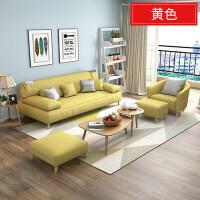 布艺沙发客厅整装家具简约小户型可拆洗北欧格调布沙发组合l +凳子