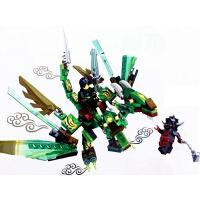 积木 S8100兼容幻影龙忍者拼装儿童玩具益智拼插飞龙机变 银色 8402双翼冥火龙