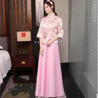 中式结婚礼女士新娘敬酒伴娘团礼服古筝民国五四表演出服古装