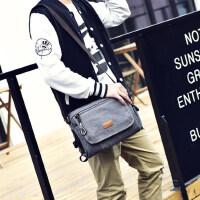 男士帆布包单肩包韩版休闲青年潮流帆布男包潮包男日系斜挎包