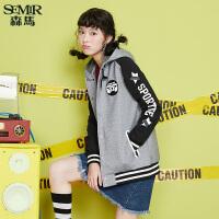 森马夹克女秋季女装加绒外套棒球服韩版休闲连帽上衣