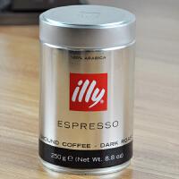 意利 illy咖啡粉 意大利原装进口重度烘焙 纯黑咖啡粉250克/2罐装