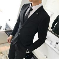 西服套装男士商务条纹西装三件套档精品两粒扣休闲正装婚礼服潮