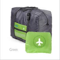 可折�B旅行包手提行李袋女大容量登�C包短途出差袋男防水套拉�U箱 �G色+灰色 32升 大