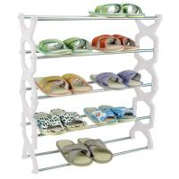 卡秀 菱形五层不锈钢组合鞋架(白色)