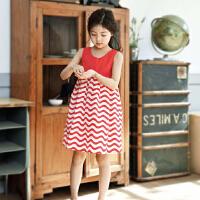女童连衣裙夏装文艺范小清新中童夏季波浪条纹背心裙大童娃娃裙子