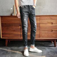 2018春季显瘦破洞牛仔裤男士修身小脚青年弹力韩版潮流个性长裤子