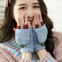 毛线手套女冬季保暖时尚可爱翻盖半指秋冬天卡通韩版百搭学生针织手套