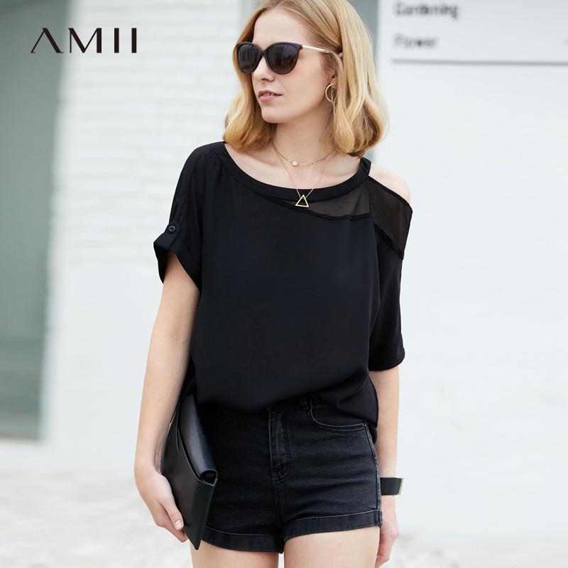 Amii极简chic欧货潮黑色t恤雪纺衫2018夏新气质圆领露肩上衣女.