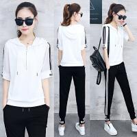 夏季休闲运动套装女夏装大码显瘦中袖长裤薄棉361运动服韩版时髦 白色