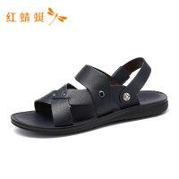 红蜻蜓男鞋夏季新款男凉鞋露趾透气简约百搭套脚沙滩休闲男凉鞋-