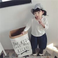 女童长袖T恤女宝宝纯棉白色打底衫春秋小童保暖上衣男童1-3岁春款