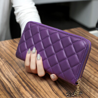 新款新款韩版菱格长款女士钱包拉链大容量手拿包多卡位钱夹手机包