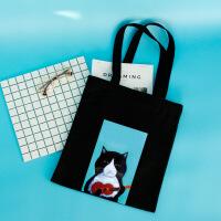 新款音乐猫印花时尚单肩包百搭个性韩版帆布袋学生女包 吉他cat D 白色 系带