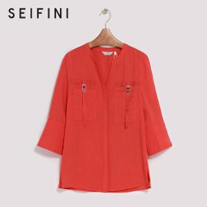 【折】商场同款诗凡黎夏新飘带口袋红色衬衫3170413225191