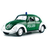 合金车模回力小汽车模型1:36大众甲壳虫警车玩具车模型