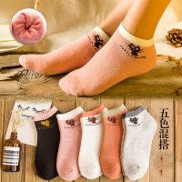 袜子女加厚保暖毛圈短袜纯棉防臭加绒短筒袜可爱浅口女袜
