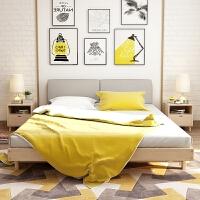 实木床现代简约双人床1.8米软包北欧式带软靠单人床1.5m1.2松木床 环保原木款+8cm椰棕床垫+软靠背 1800m