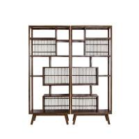 新中式书架老榆木博古架书柜日式全实木家具装饰展示柜简约茶叶架 1米以下