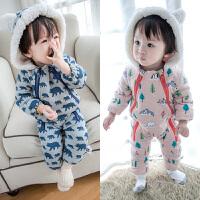 秋冬装婴儿衣服女宝宝连体衣哈衣纯棉衣0-3-6个月加厚2男1岁加绒