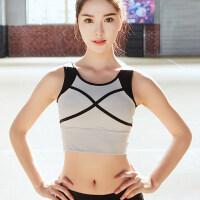 背心式拼接运动文胸罩速干健身跑步瑜伽防震内衣无钢圈训练舞蹈女